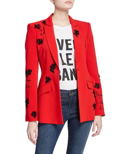 estelle beaded one-button crepe blazer