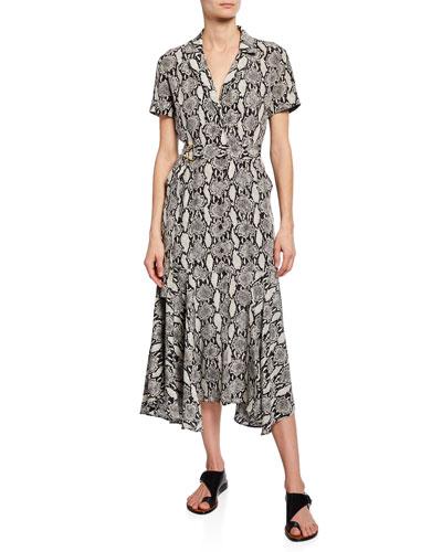 Clarkson Snake-Print Midi Shirt Dress