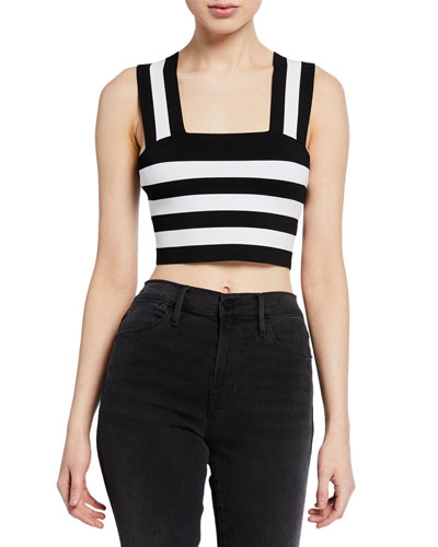 Tia Striped Sleeveless Crop Top