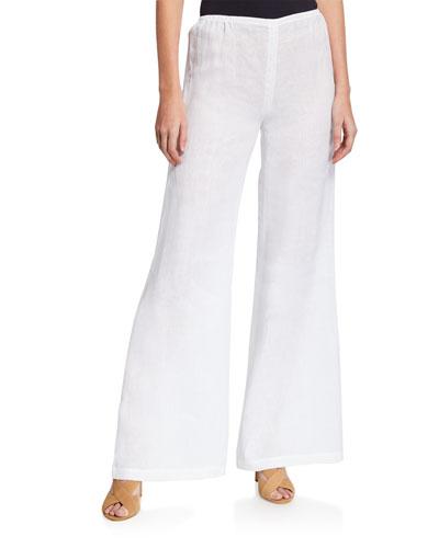 Petite Tissue Linen Wide-Leg Pants