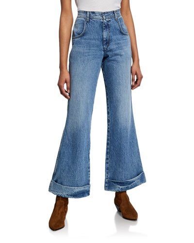 The 70s Ultra High-Rise Cuffed Bell Bottom Jeans