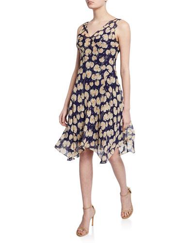 Dita Printed Sleeveless Handkerchief Dress