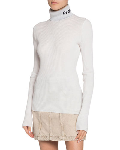 Long-Sleeve Knit Lightweight Turtleneck Top