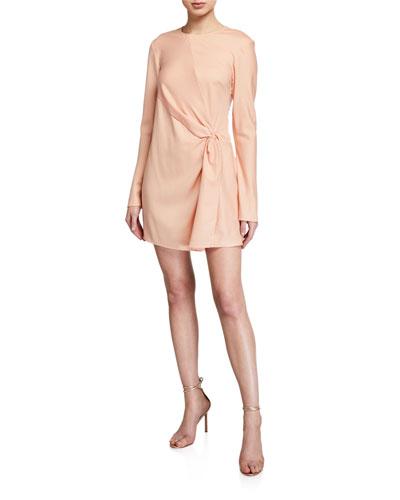 Twice As Nice Long-Sleeve Silk Dress
