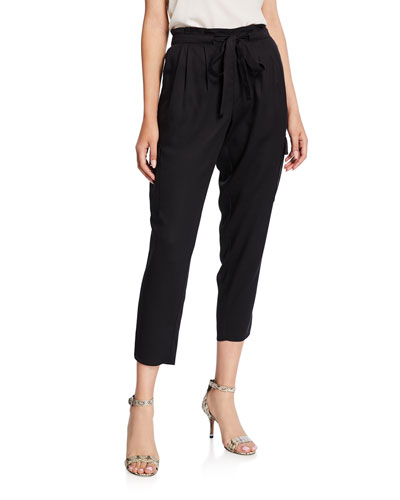 Allyn Pleated Paperbag Cropped Pants