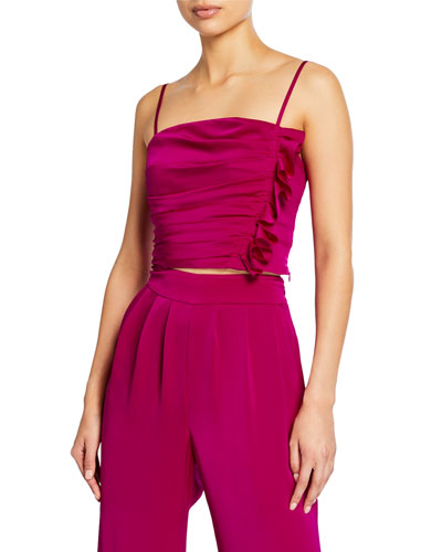 Estelle Sleeveless Satin Crop Top