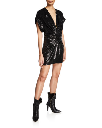 Lilou Sequin V-Neck Short-Sleeve Dress