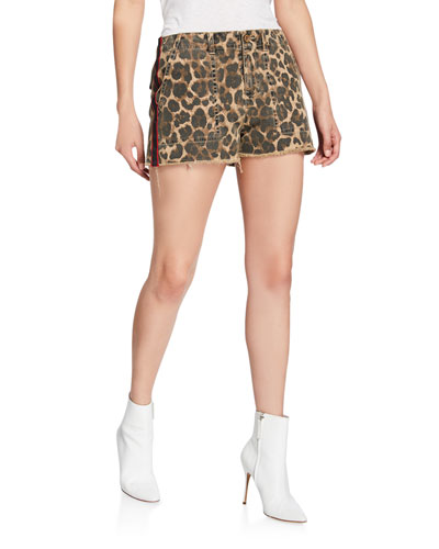 Leopard-Print Lace-Up Detail Shorts with Side-Stripes