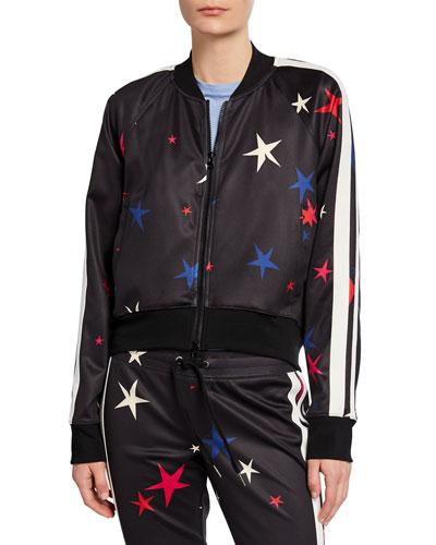 9ec738299a648 Quick Look. Pam & Gela · Star Side-Stripe Raglan-Sleeve Crop Track Jacket