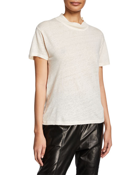 Iro Wake Mock-Neck Short-Sleeve Linen Top