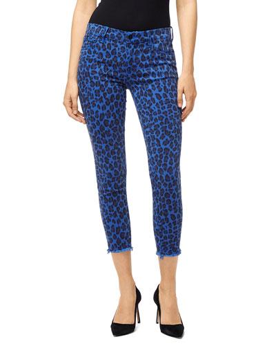 Cheetah-Print Mid-Rise Crop Skinny Jeans