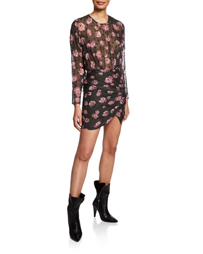 Adelino Dotted Floral Long-Sleeve Mini Dress