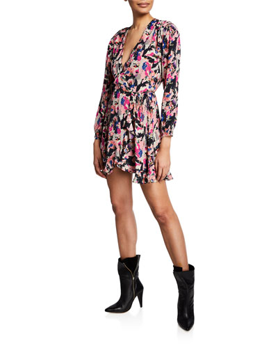 Bloomy Printed Long-Sleeve Wrap Dress