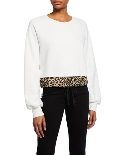 Crewneck Cotton Sweatshirt with Contrast Hem