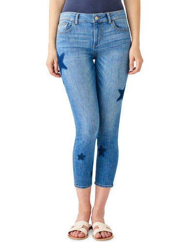 Florence Ankle Mid-Rise Skinny Jeans with Stars