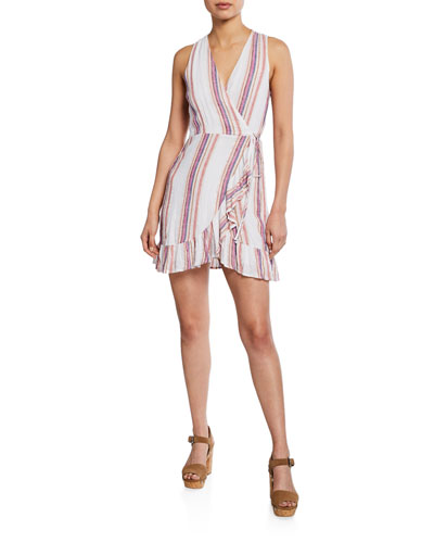 Madison Striped Sleeveless Mini Wrap Dress