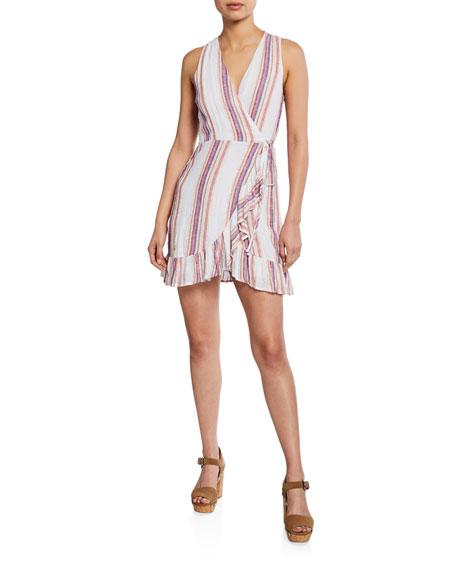 Rails Madison Striped Sleeveless Mini Wrap Dress