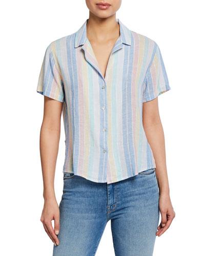 Zuma Striped Button-Down Short Sleeve Shirt