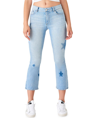 Bridget Crop Skinny Boot-Cut Jeans with Stars