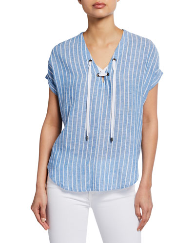 Jeri Striped Lace-Up Short-Sleeve Top