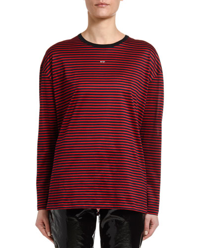 Striped Long-Sleeve Logo Tee