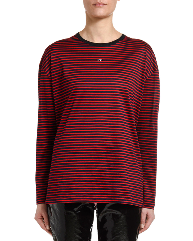 N°21 Striped Long-Sleeve Logo Tee In Red Pattern