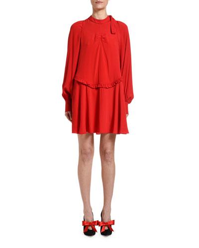Mock-Neck Long-Sleeve Mini Keyhole Dress