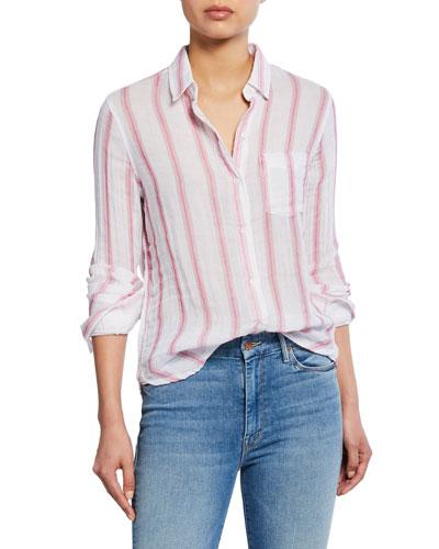 Reagan Striped Button-Down Cotton Shirt