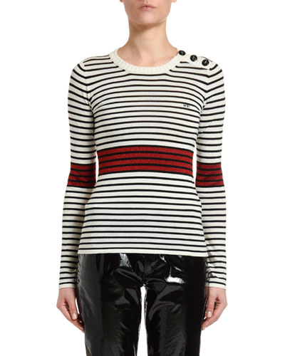 Striped Long-Sleeve Top with Button Details