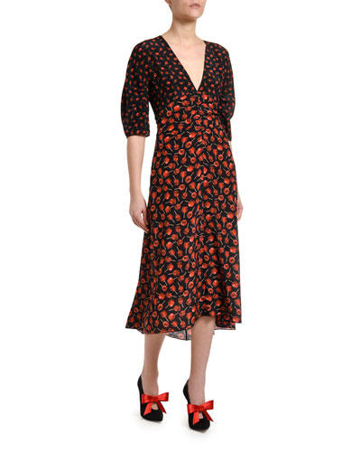 Printed Half-Sleeve Silk Midi Dress