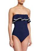 Karla Colletto Frida Ruffle Bandeau One-Piece Swimsuit