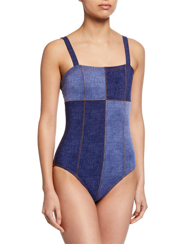 Louise Patchwork Bandeau One-Piece Swimsuit