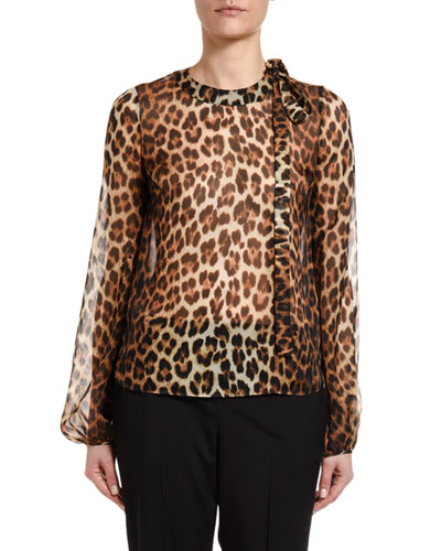 Leopard Silk Blouson-Sleeve Neck-Tie Blouse
