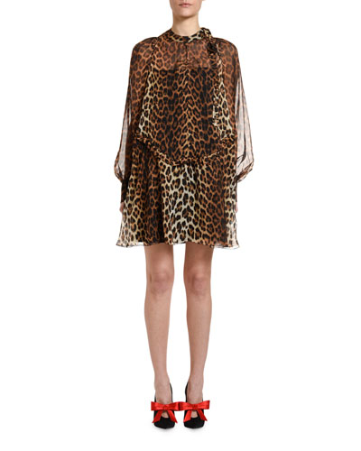 Leopard Tie-Neck Blouson-Sleeve Keyhole Mini Silk Dress