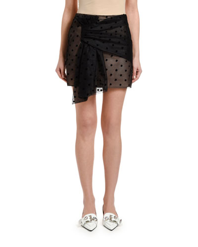 Dotted Tulle Wrap Mini Skirt