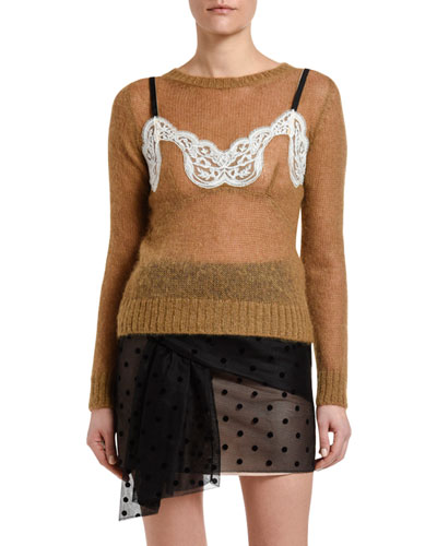 Mohair Crewneck Sweater with Lace Detail