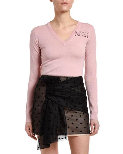 Long-Sleeve V-Neck Wool Logo Sweater