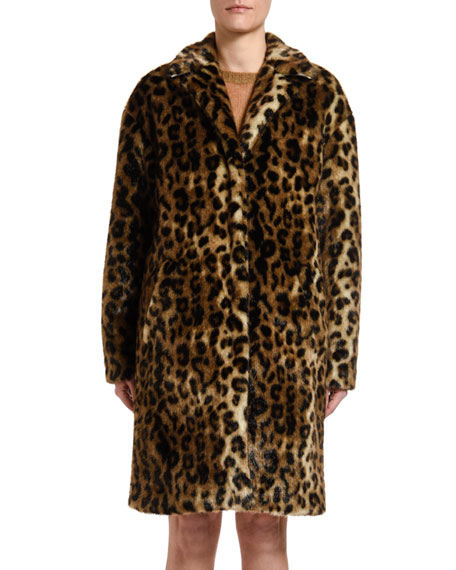 No. 21 Leopard-Print Faux-Fur Coat