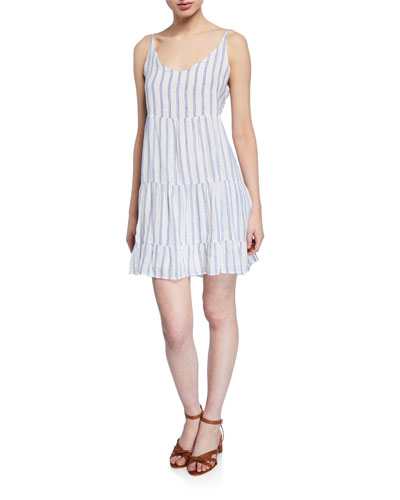 Mattie Striped Tiered Ruffle-Hem Dress