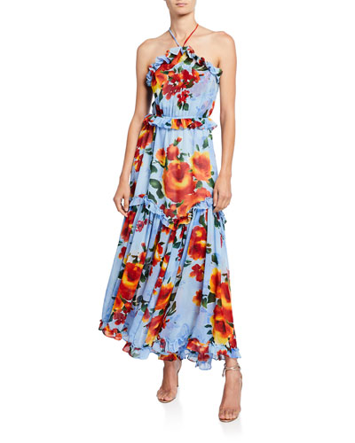 Dallin Tiered Floral-Print Ruffle-Trim Halter Maxi Dress