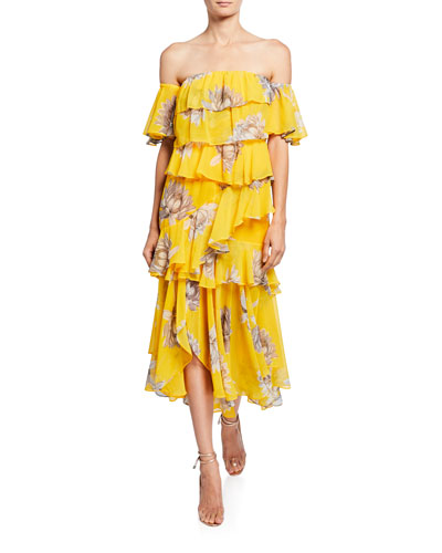 Dalila Floral-Print Off-Shoulder Tiered Flounce Dress