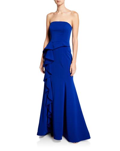 Strapless Bustier Scuba Gown w/ Asymmetric Ruffle Detail