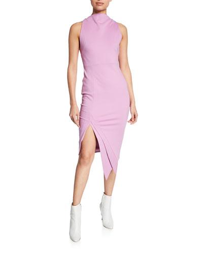 Carmen Cowl-Neck Sleeveless Sheath Dress w/ Asymmetric Hem