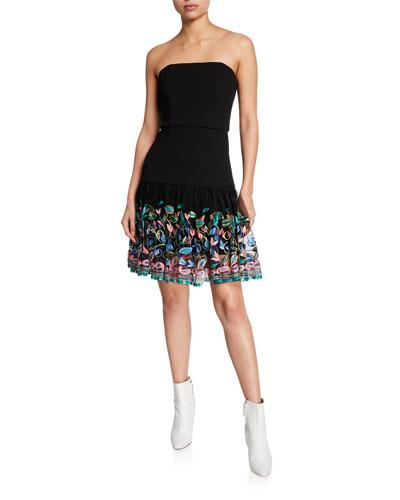 Amelie Strapless Embroidered-Hem Fit-&-Flare Dress