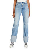 Hudson Barbara High-Waist Jeans with Deep Cuffs
