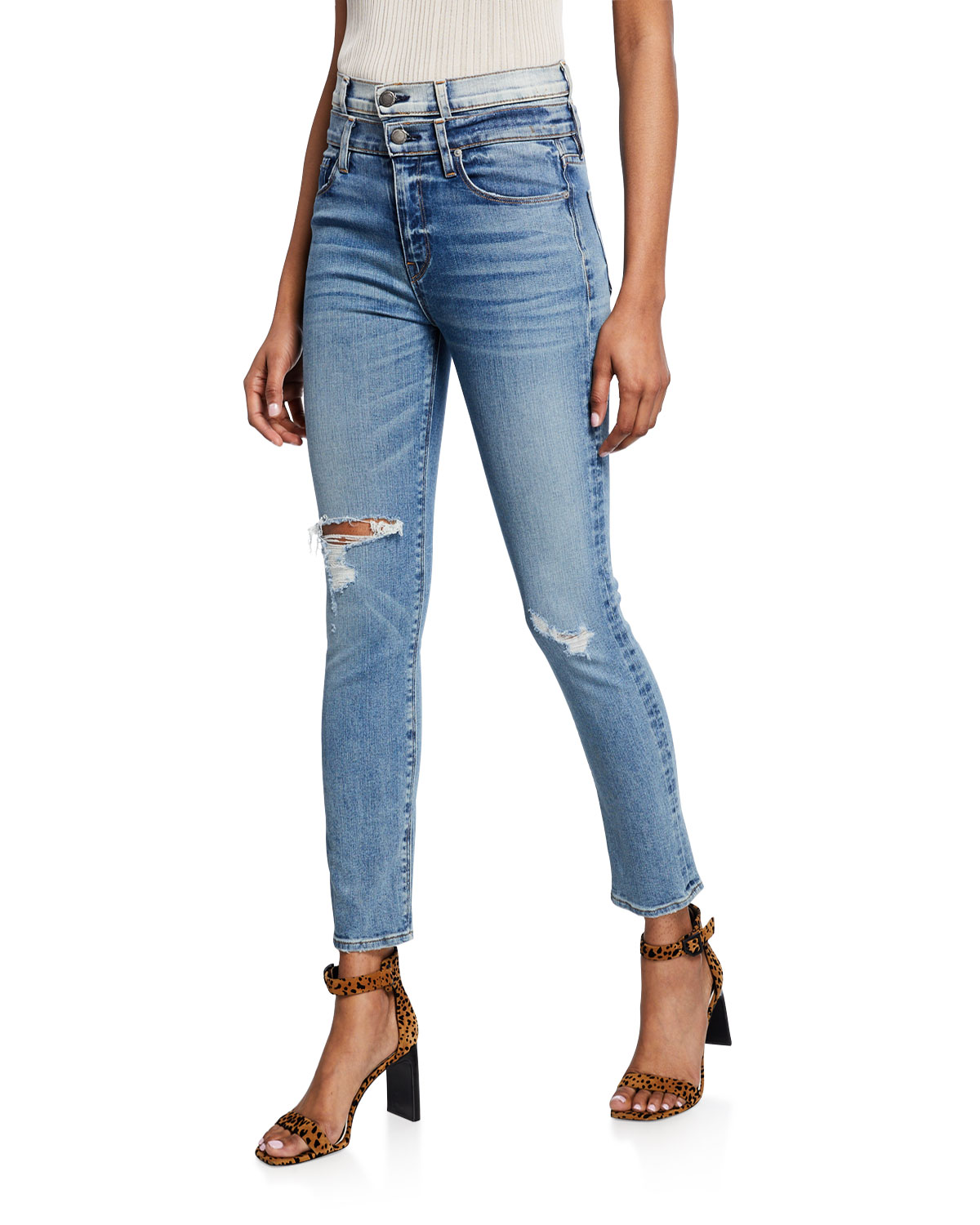 Hudson Jeans HOLLY HIGH-RISE STRAIGHT ANKLE JEANS WITH DOUBLE WAISTBAND