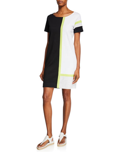 Plus Size Tricolor Colorblock Scoop-Neck Short-Sleeve Dress