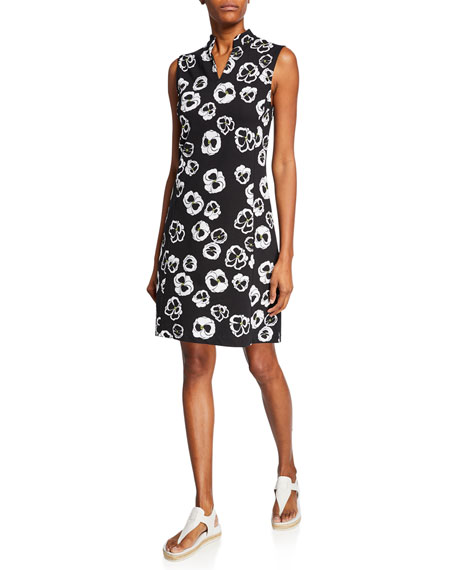 Joan Vass Floral-Printed Sleeveless Stretch Pique Dress