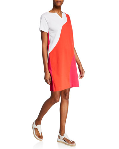Plus Size Wave Colorblock Slit-Neck Short-Sleeve Stretch-Pique Dress