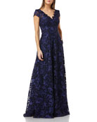 Carmen Marc Valvo Infusion Embroidered V-Neck Cap-Sleeve Ball